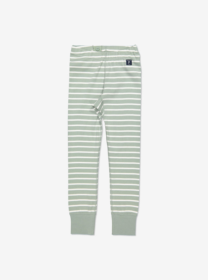 Kids Green Striped Organic Leggings