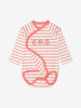 Girl Beige Organic Cotton Striped Newborn Babygrow