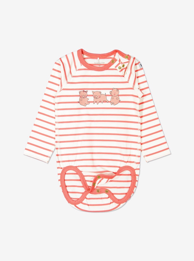 Girl Beige Organic Cotton Striped  Babygrow
