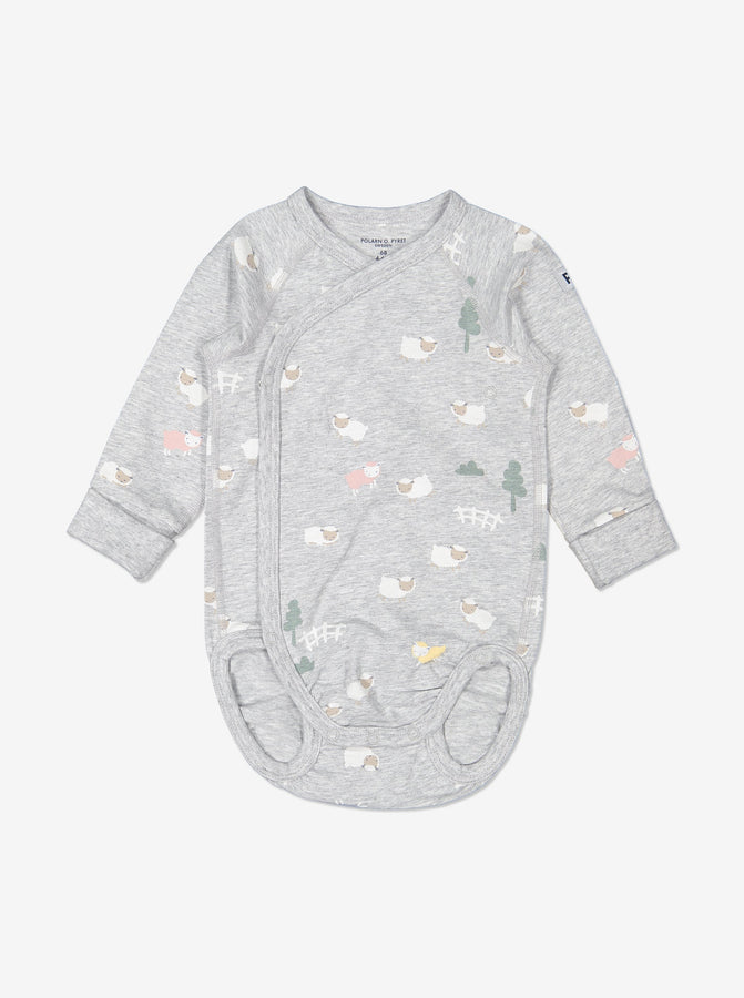 Boy Grey Organic Cotton Newborn Baby Bodysuit