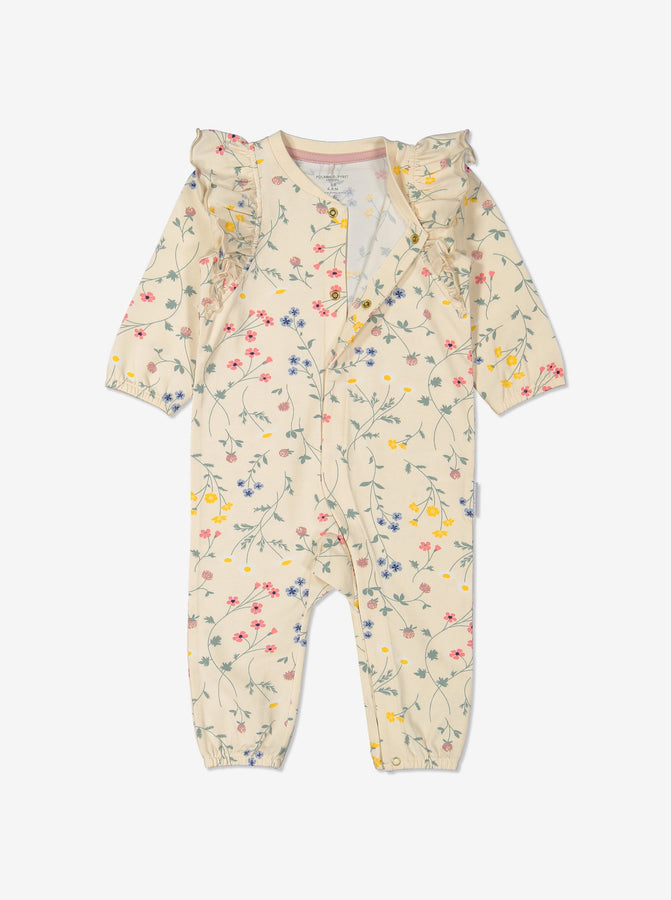 Girl White GOTS Organic Floral Romper