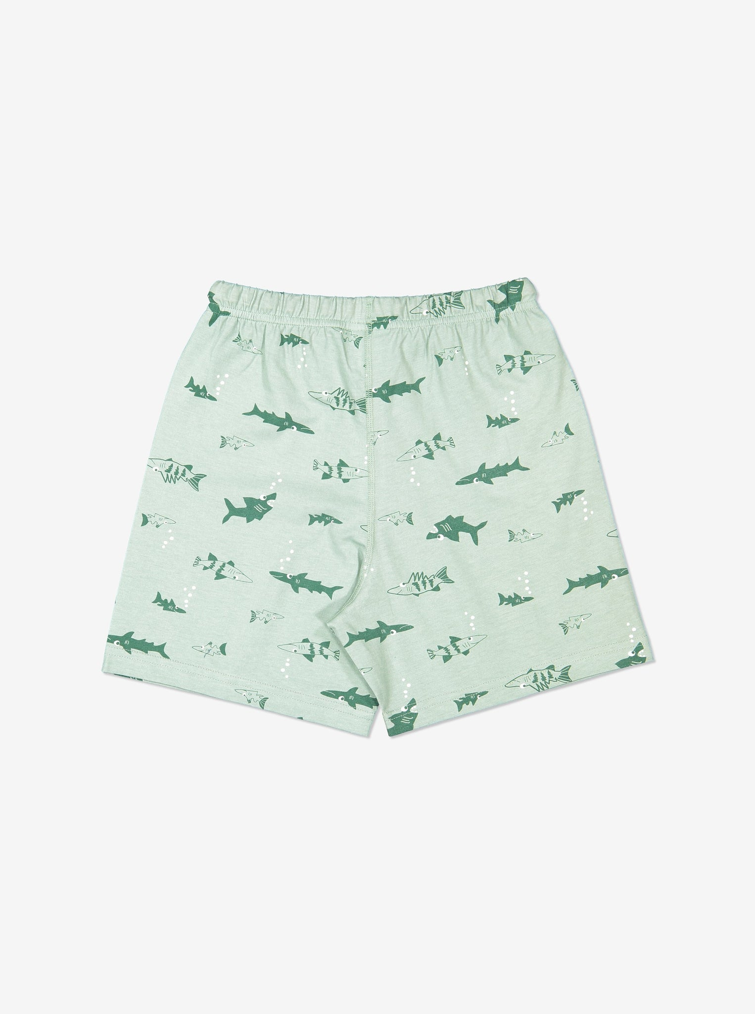 Boy Green GOTS Organic Shark Print Pyjamas