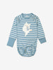 Blue and white striped babygrow for babies with poppers on one shoulder for easy dressing, made from GOTS organic cotton fabric with fun kitten playing with ball applique