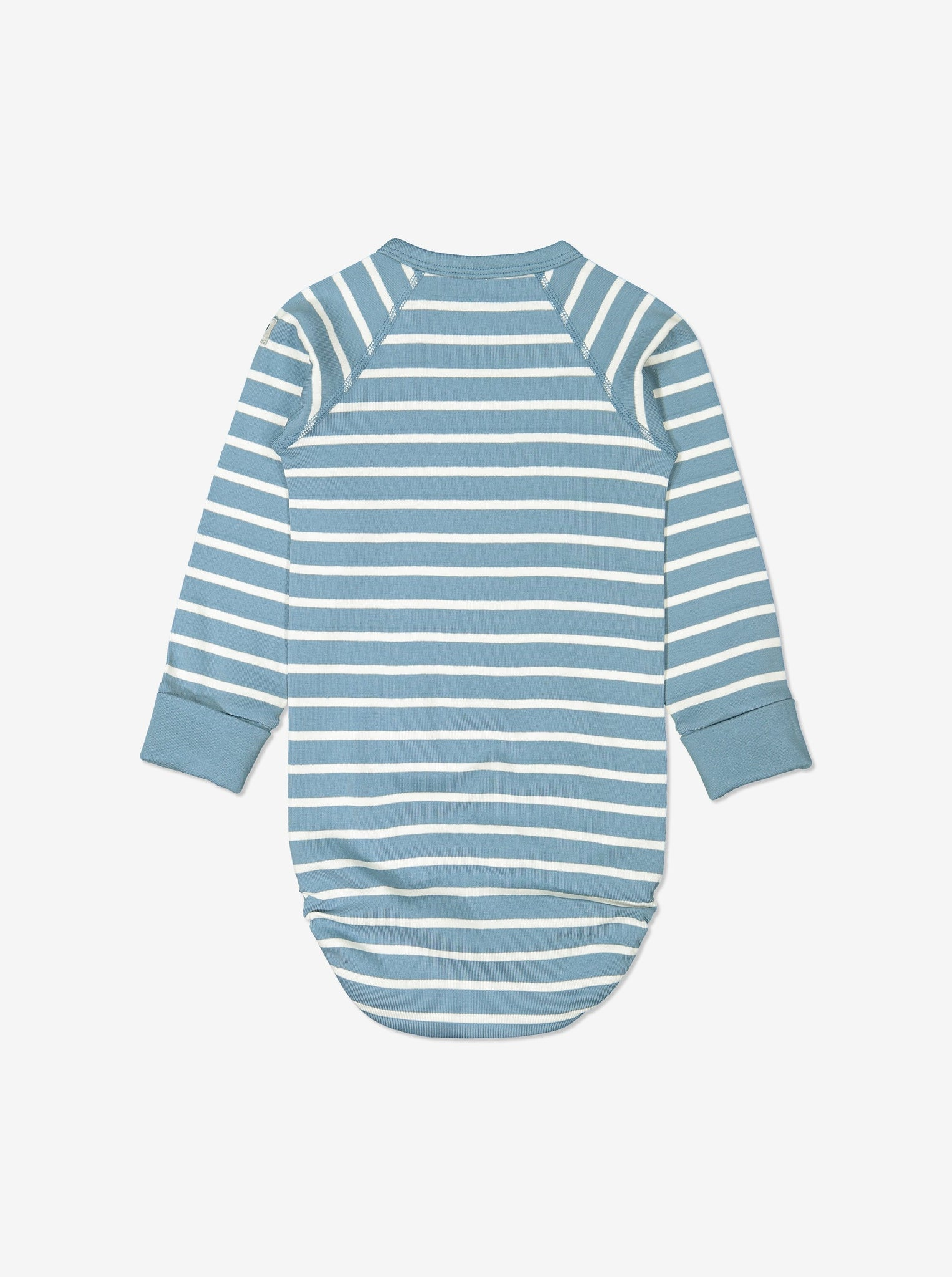 Back view of blue and white striped babygrow for babies, made from GOTS organic cotton fabric