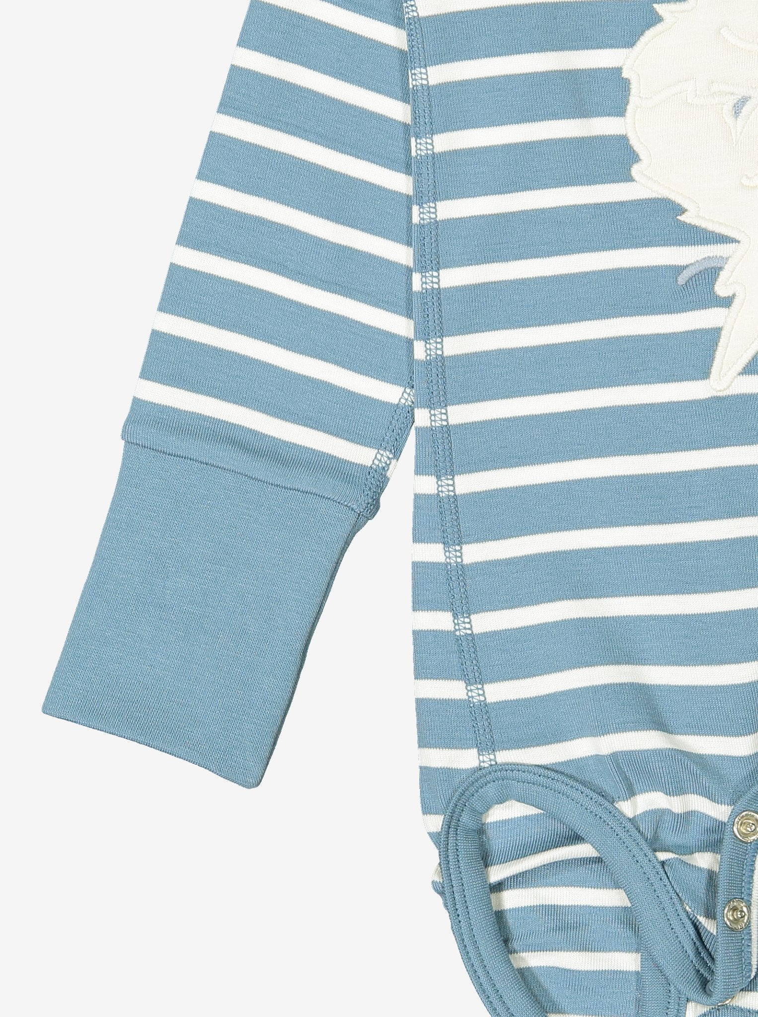 Blue and white striped babygrow showing close of of unique fold-over cuffs giving lots of growing room
