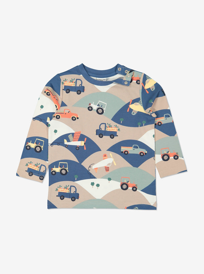 Boy Brown GOTS Organic Vehicle Print Top