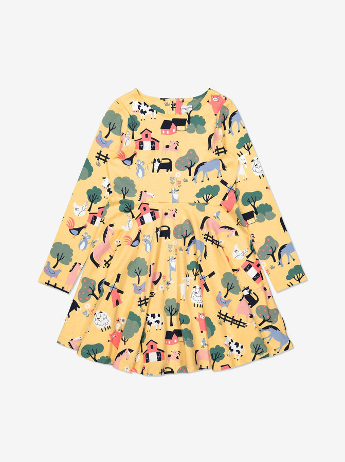 Girl Yellow GOTS Kids Jersey Twirl Dress