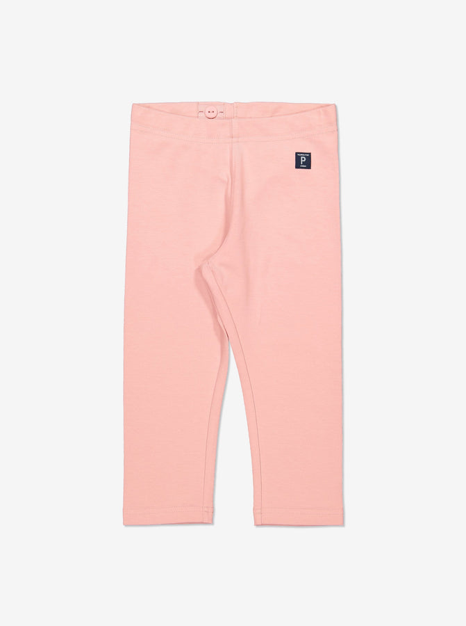 Girl Pink GOTS Organic Cropped Leggings