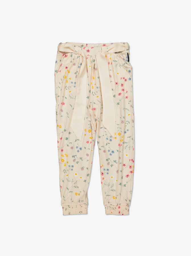 Girl White Floral Kids Trousers