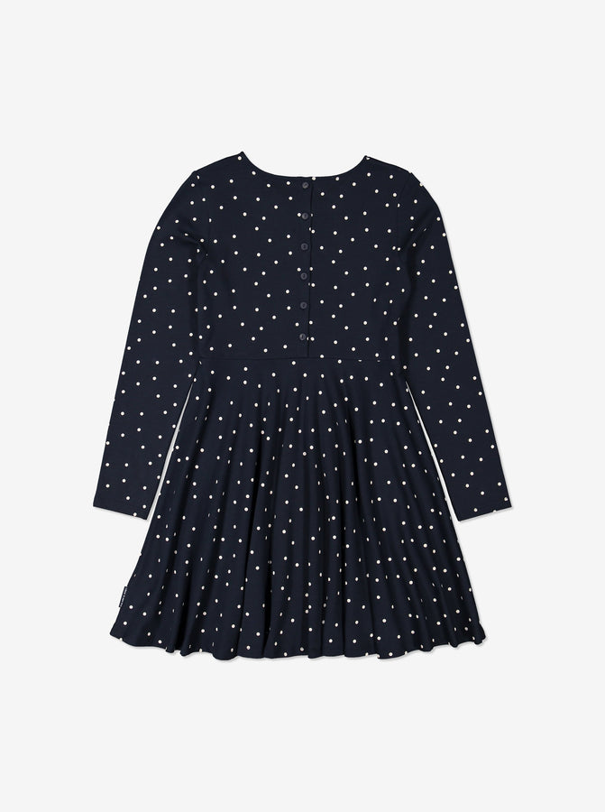 Organic Cotton Polka Dot Print Kids Dress 6-12years Navy Girl