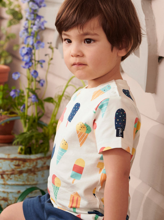 Unisex White Kids Ice Cream Print T-Shirt