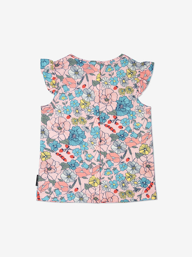 Girls Pink Kids Floral Short Ruffle Sleeved Top