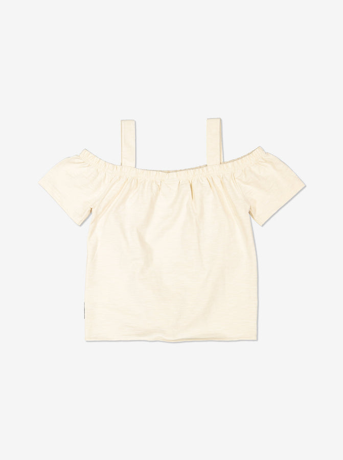 Girls White Kids Shoudler Top