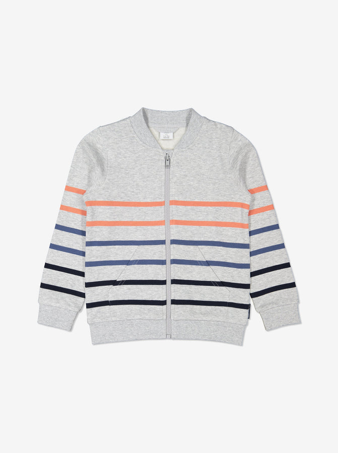 Boys Grey Kids Zip Up GOTS Jacket