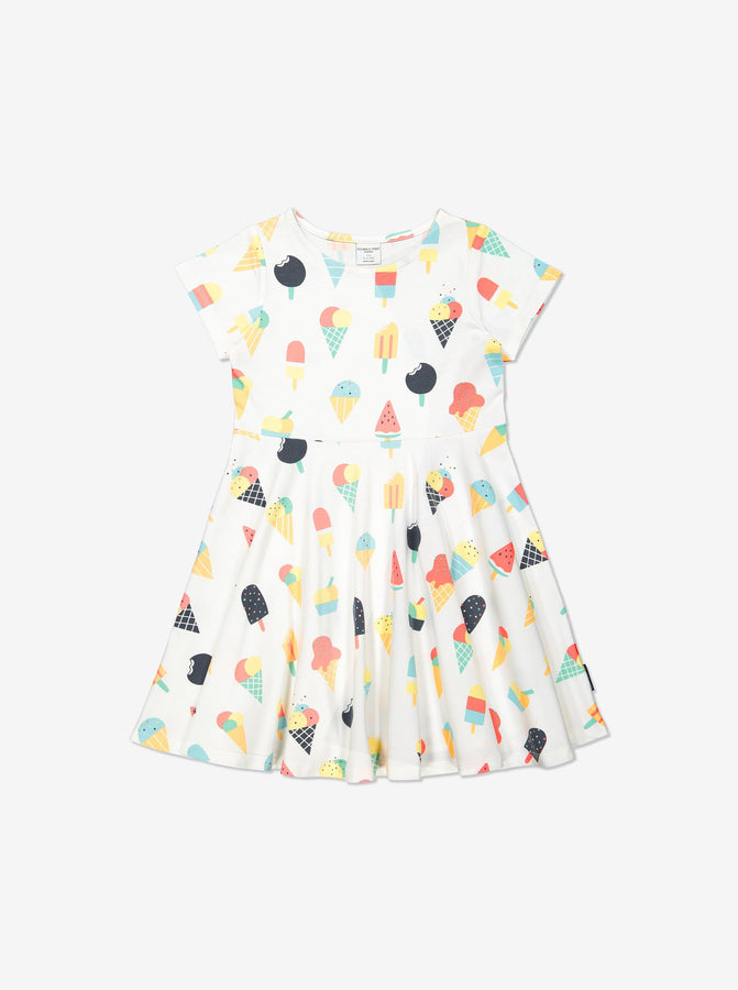 Girls White Kids Ice Cream Twirl Dress