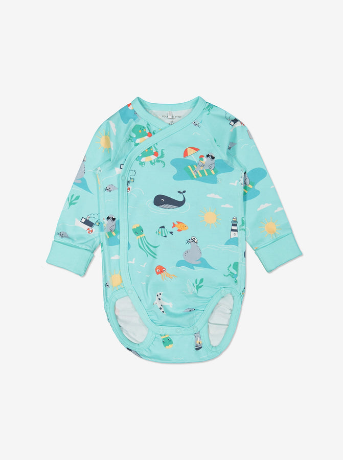 Boys Blue Newborn Gots Organic Seaside Print Babygrow