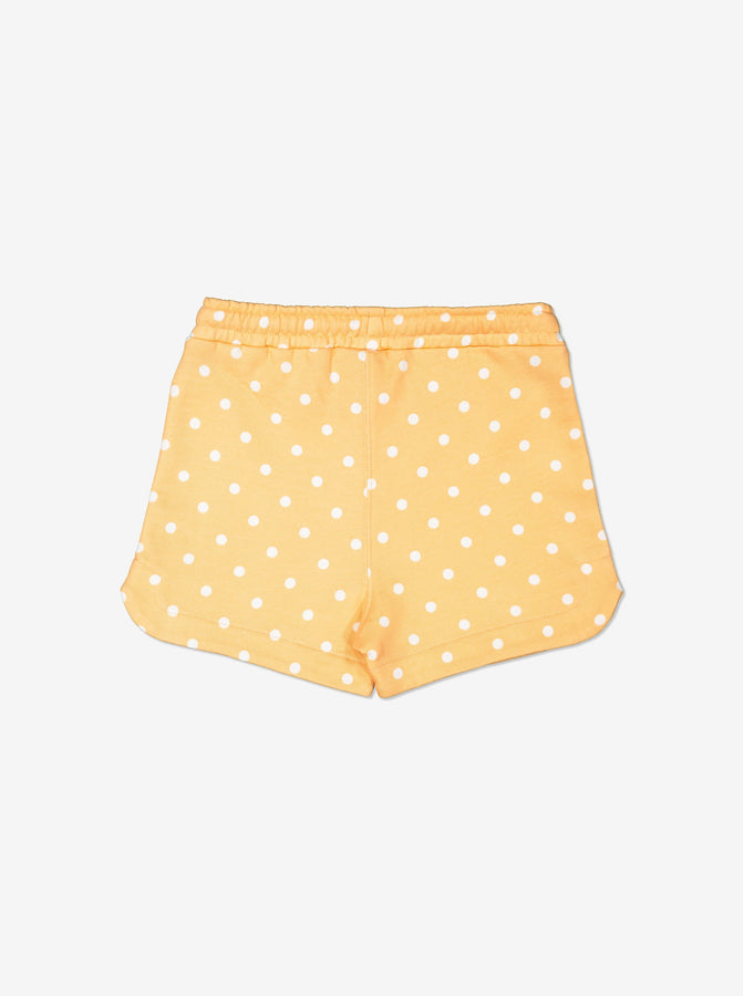 Girls Yellow Kids Spotty GOTS Organic Shorts