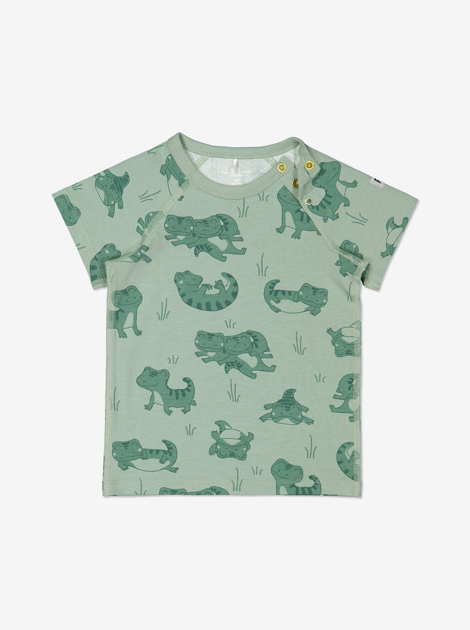 Boys Green Baby Crocodile GOTS Organic T Shirt