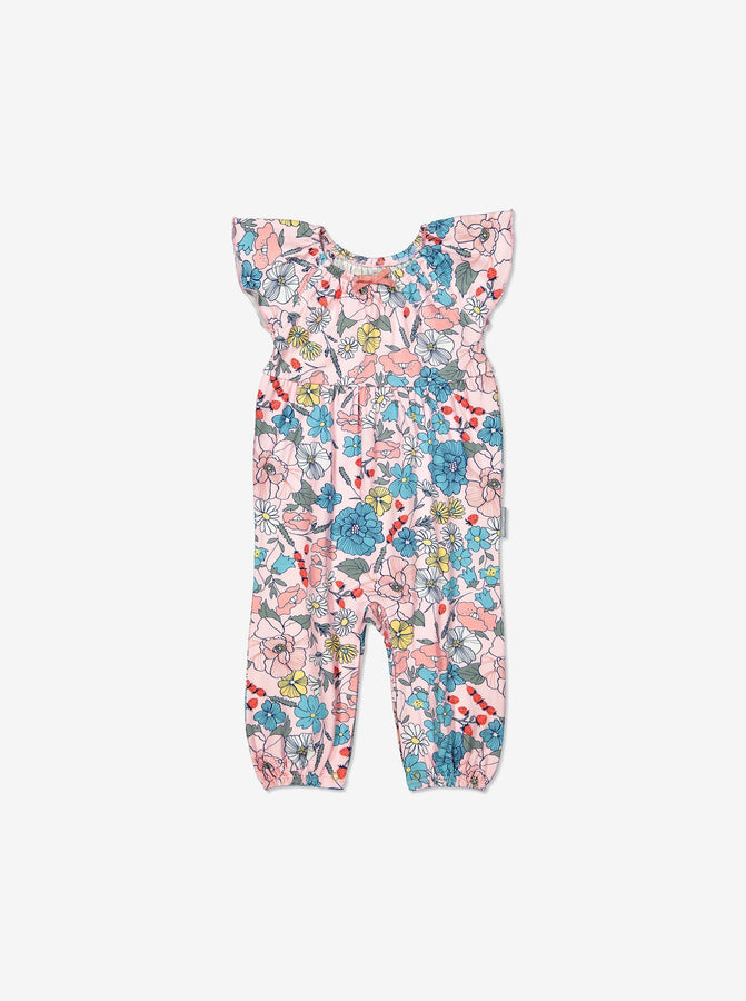 Girls Pink Newborn Baby Floral Gots Playsuit