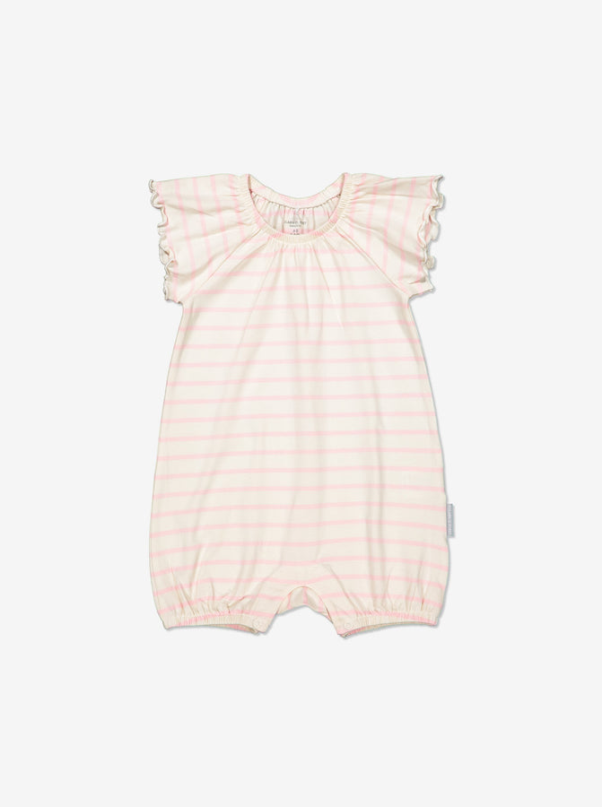 Girls Pink Newborn Baby Striped GOTS Organic Playsuit