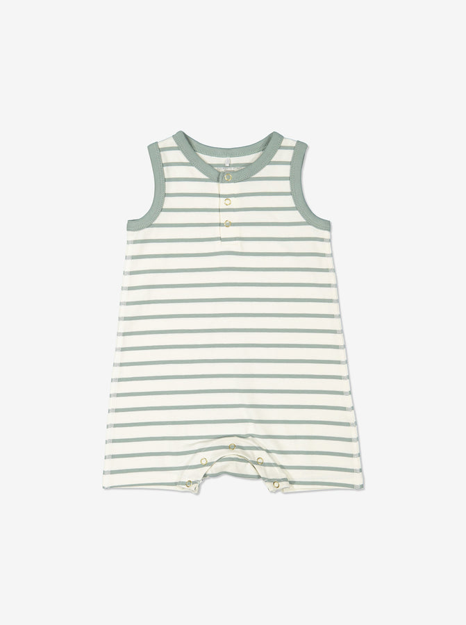 Boys Green Newborn Baby Striped GOTS Organic Romper
