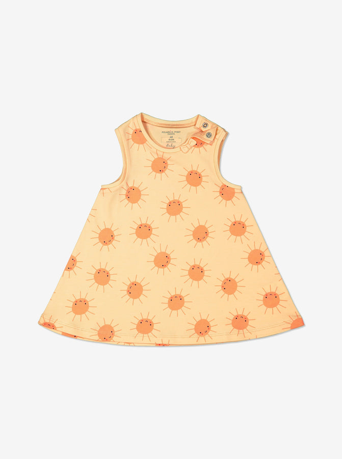 Girls Yellow Sun Print Newborn Baby Dress