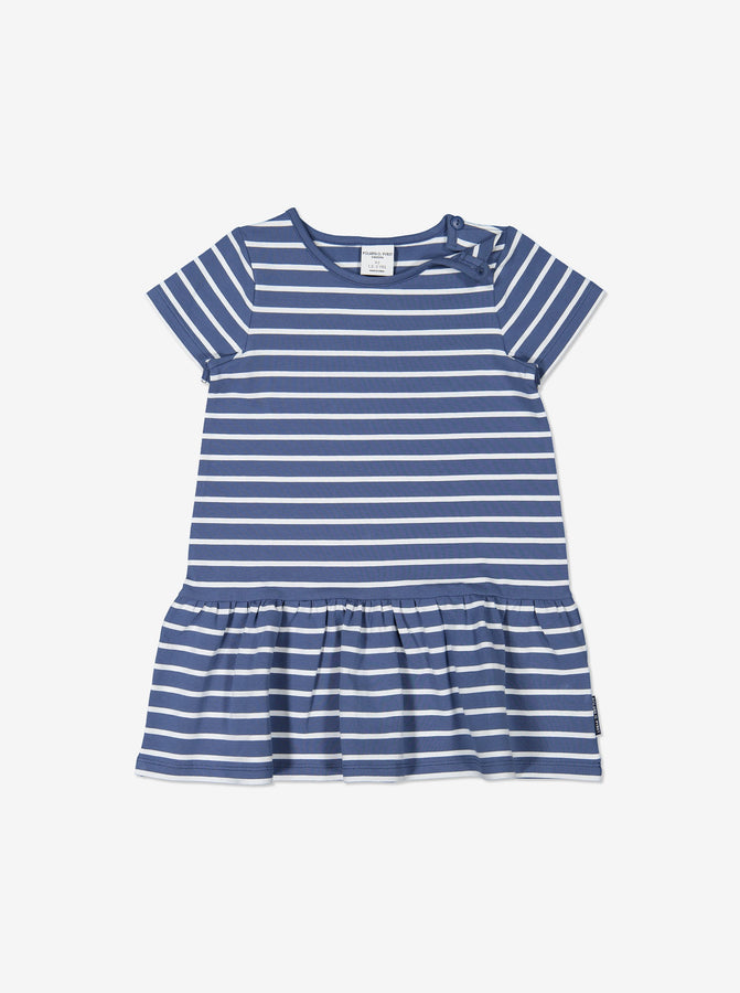 Girls Blue Kids Striped Organic Dress