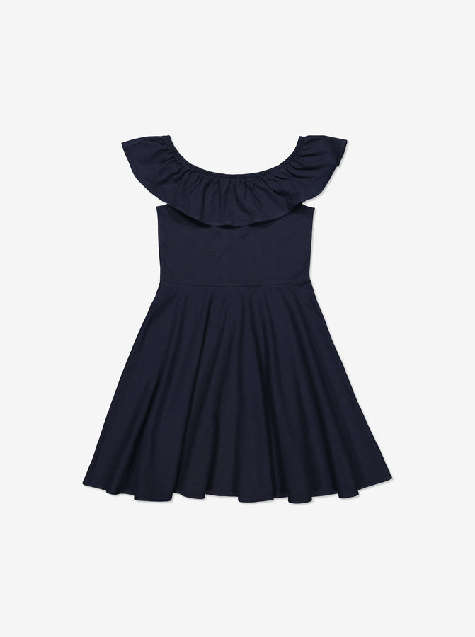 Girls Navy Kids GOTS Organic Dress