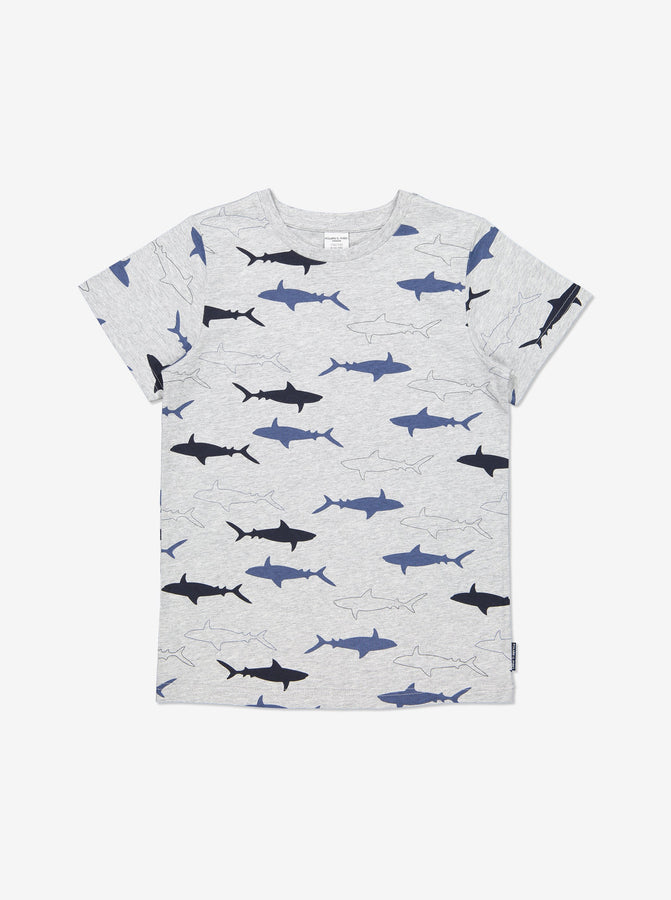 Boys Grey Kids Shark Print Gots Organic Cotton T Shirt