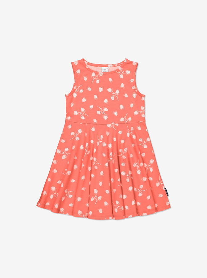 Girls Pink Kids GOTS Organic Strawberry Dress