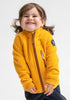 A smiling toddler wearing a yellow, kids waterproof fleece jacket, made of soft and breathable fabric, with zip reflectors.