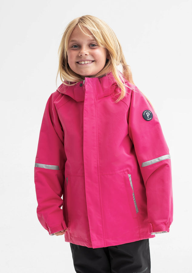 A young girl spotted wearing a pink, kids waterproof soft shell jacket, comes with reflectors, and detachable hood.