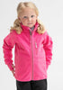 A young girl sporting a pink, kids waterproof fleece jacket made of breathable fabric, comes with cuff thumbholes.