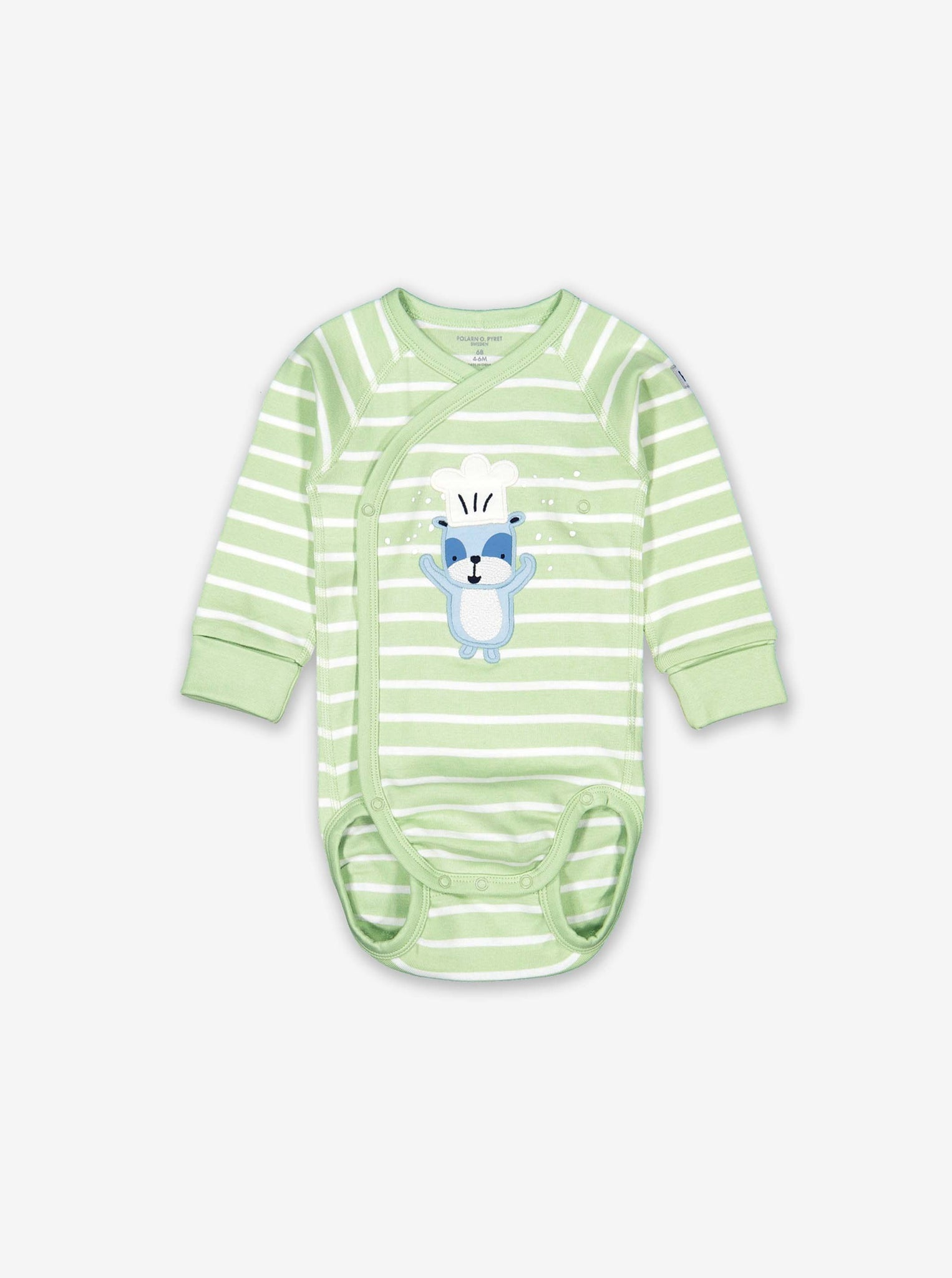 Striped Applique Wraparound Baby Bodysuit