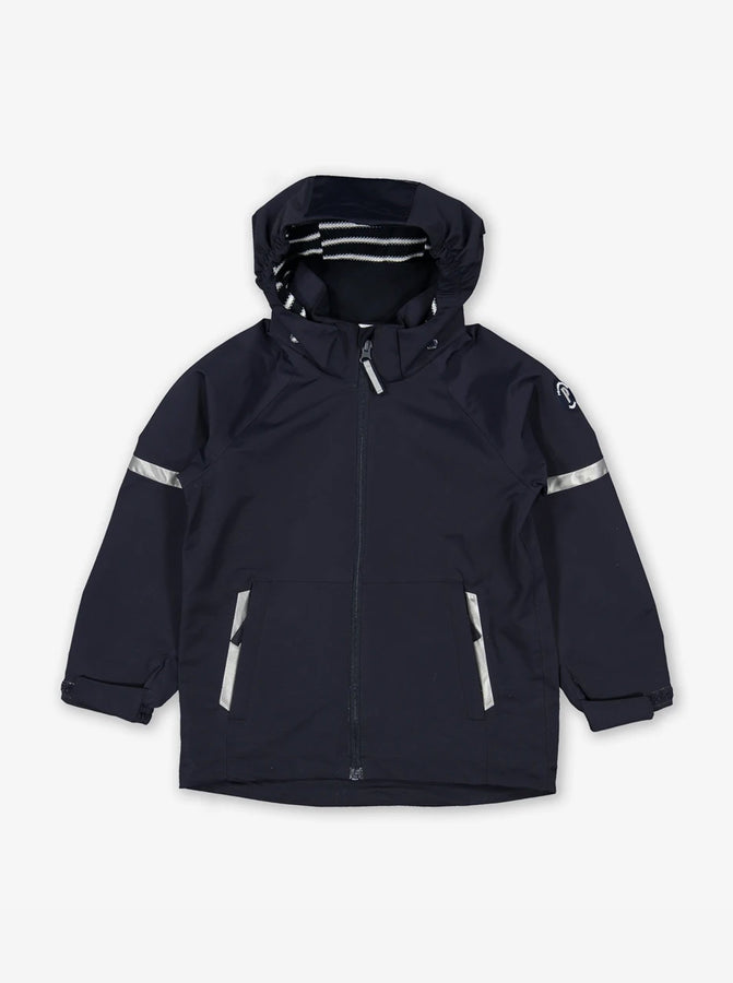 Kids waterproof jacket in navy, includes a detachable hood and adjustable cuffs, made of lightweight shell fabric.
