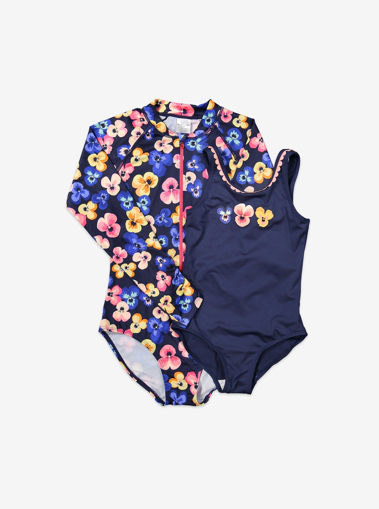 Long Sleeved Floral Kids Swimsuit