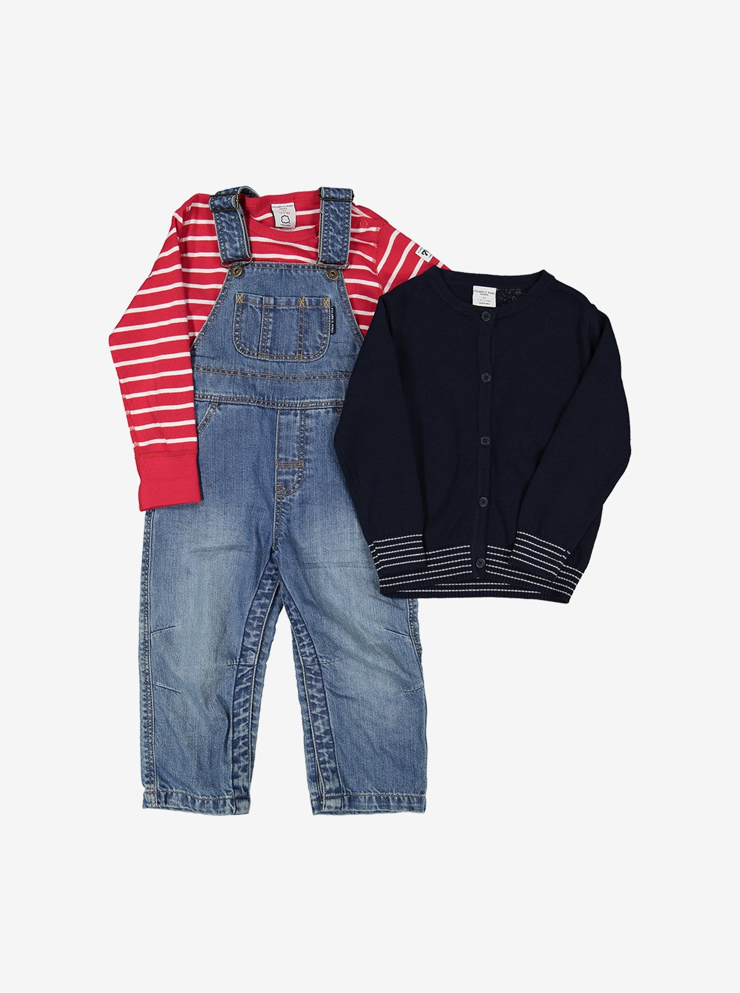 Striped Trim Kids Cardigan
