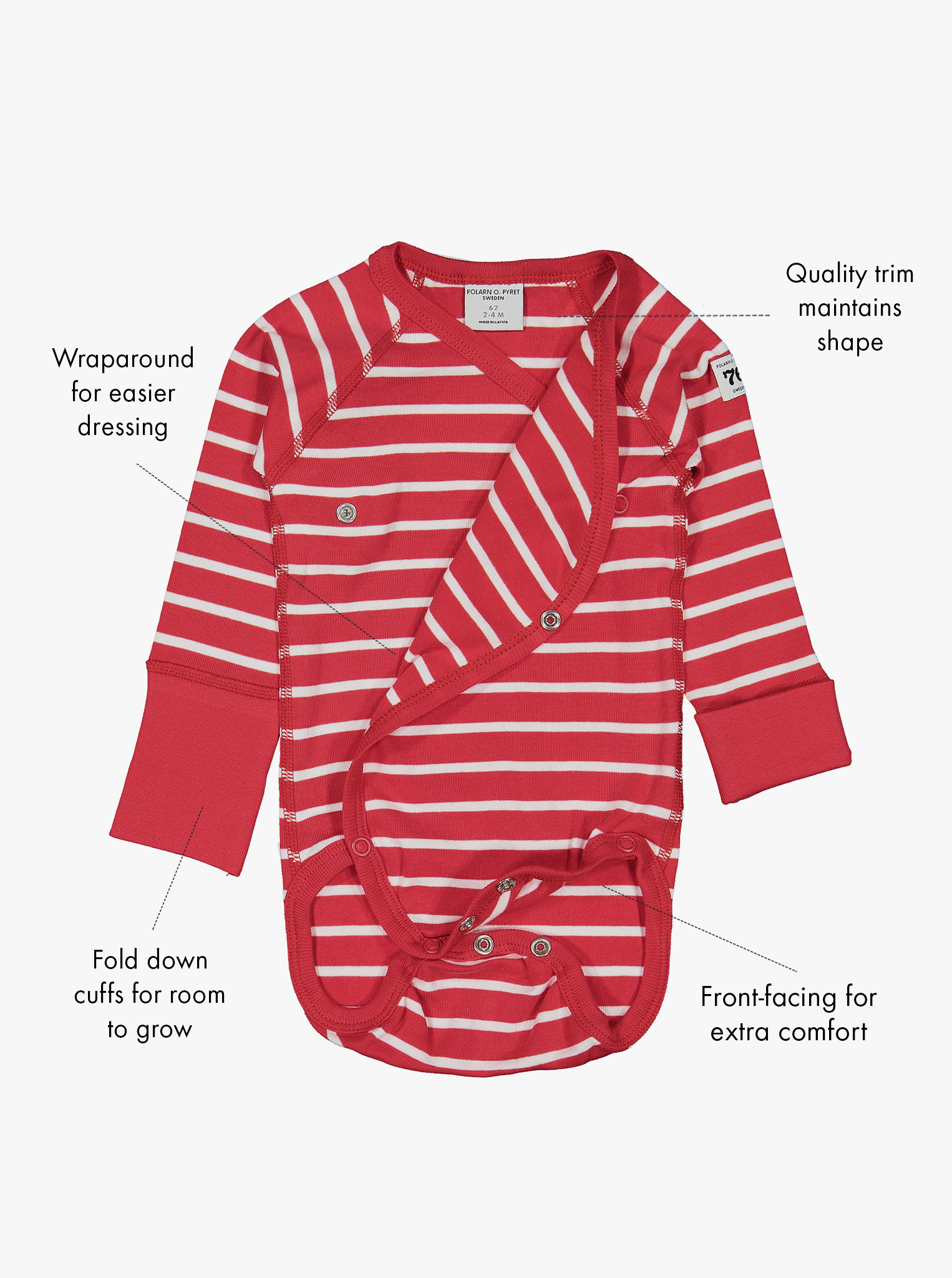 Organic cotton long sleeve babygrow in a classic red and white striped print with text labels shown on the sides