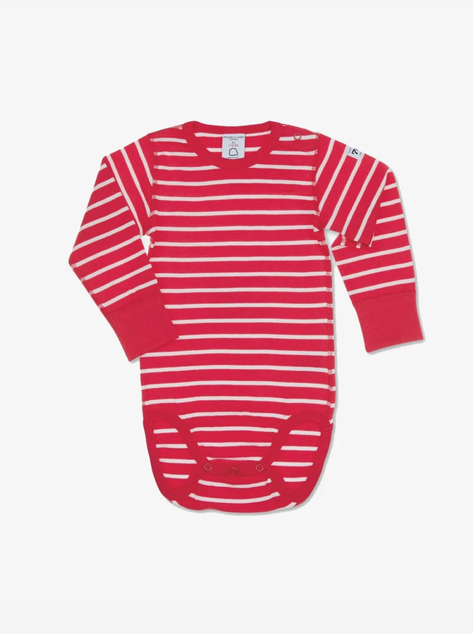 A classic red and white stripe print babygrow made from organic cotton, featuring a popper on the shoulder for easy dressing.