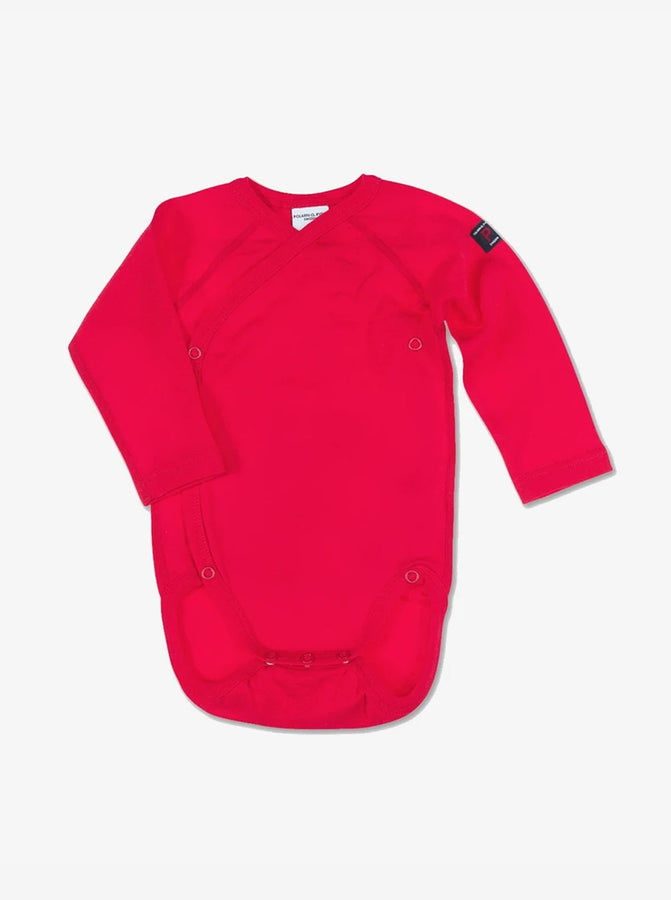 Wraparound style newborn red babygrow, made from organic cotton fabric. Sustainably made with love.