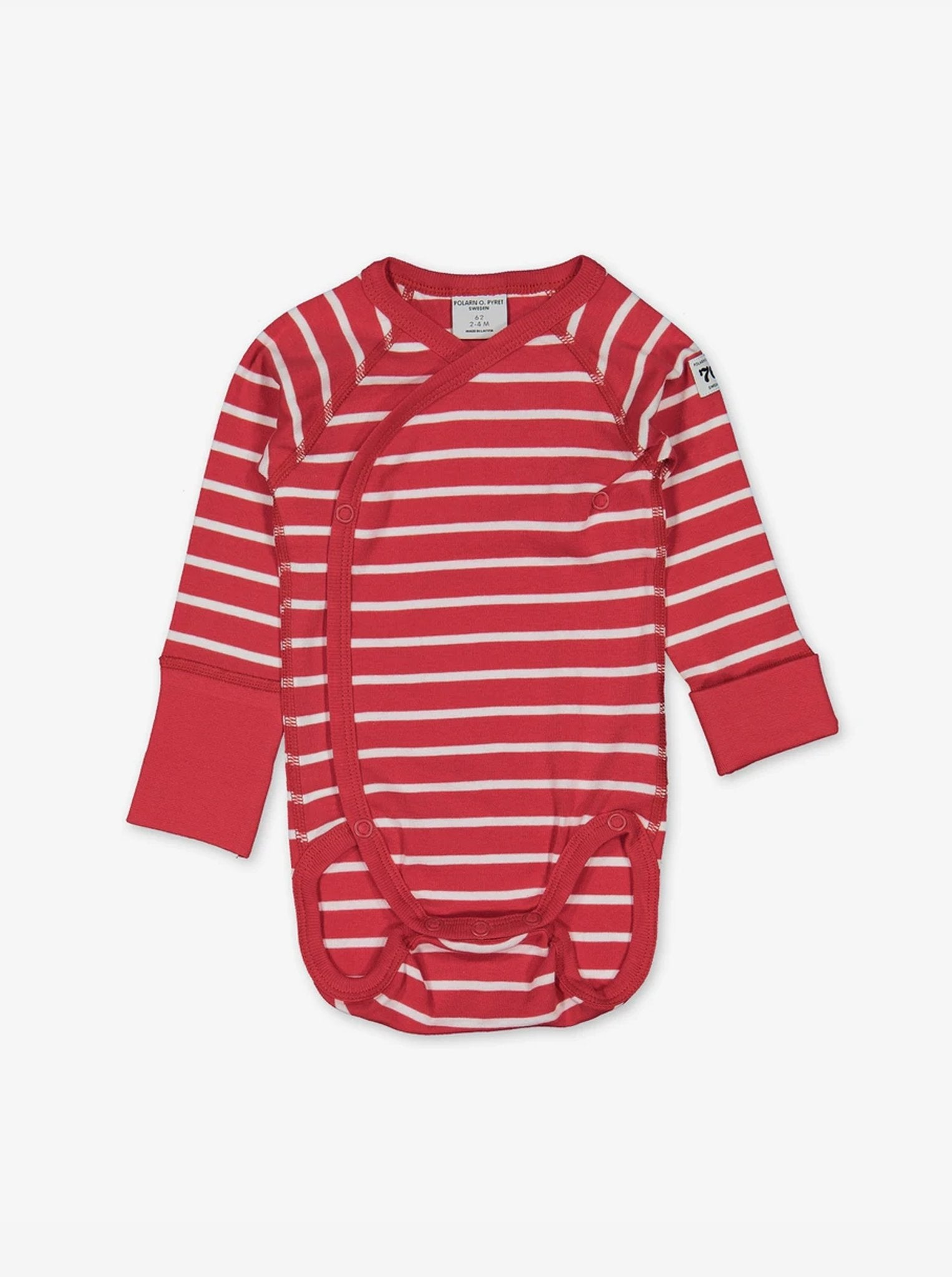 Red and white striped babygrow for preterm newborn babies in a wraparound style, made from 100% organic cotton fabric
