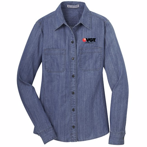 VGT Port Authority Ladies Denim Shirt w/ Patch Pockets