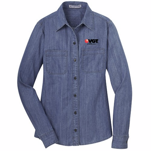 VGT Port Authority Ladies Denim Shirt w/ Patch Pockets  (L652)