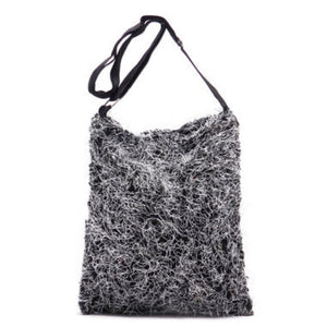 Fuzzy Black Messenger Bag Cross Body Purse