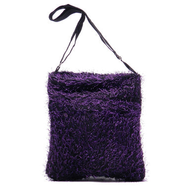 Fuzzy Purple Cross body Messenger Purse