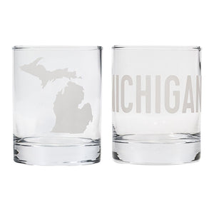 Set of Two State of Michigan Rocks Glass Set
