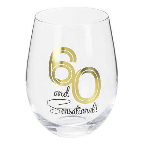 60 and Sensational Stemless Wine Glass
