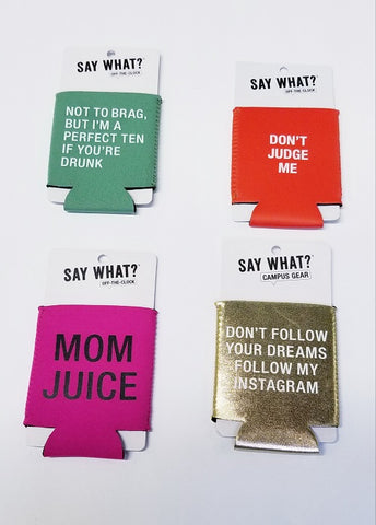 Set of Four Funny Beer Can Coozies