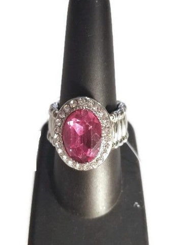 Pink Oval Stone Rhinestone Stretch Ring