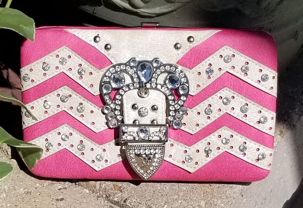 Pink Eashion Faux Leather Studded Flat Wallet